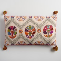 Oversized Embroidered Suzani Lumbar Pillow