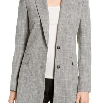 Emerson Rose Long Herringbone Blazer | Nordstrom