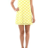 Sweetest Checkmate 60′s Shift Dress In Lime Green/White|Thirteen Vintage