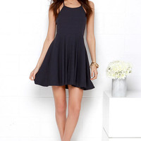 Mink Pink Time Flies Navy Blue Halter Dress