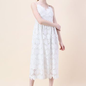 Ebullience of Flowers Crochet Cami Dress in White