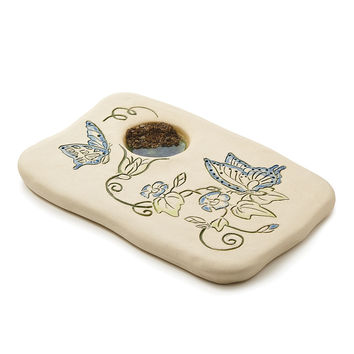 MORNING GLORY BUTTERFLY PUDDLER | Stoneware Garden Decor | UncommonGoods