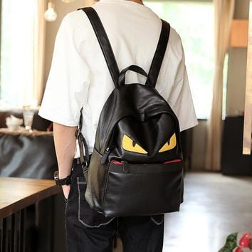 2017 Rushed Kpop Mochilas Backpacks Fashion Solid Leather School Bags For College Students Big Laptop Backpack Travel Eye