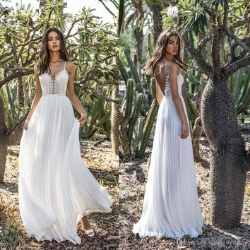 2019 Summer White Bohemian Style Simple Party Dresses Long A Line Spaghetti Strap Backless Boho Cheap Beach Holiday Bridal Gowns 2133