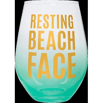Resting Beach Face Jumbo Stemless Wine Glass in Sea Blue and Gold