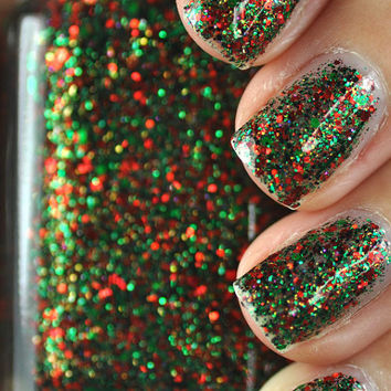 Sleigh Bells Bling Red and Green Glitter Nail Polish 15ml (.5oz)