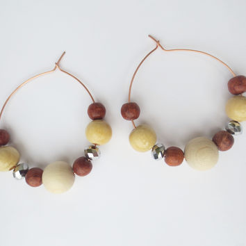 Earth Bling Wooden Hoop Earrings