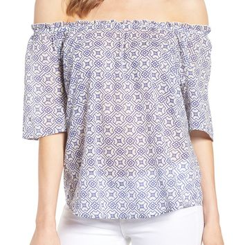 Velvet by Graham & Spencer Off the Shoulder Cotton Blouse | Nordstrom