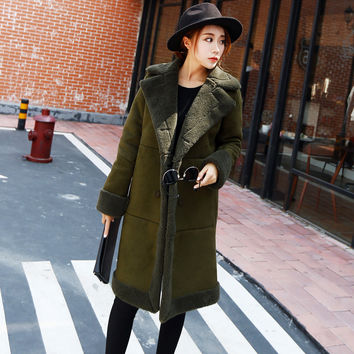 Winter Jacket Women Green Suede Coats Long Cotton Wadded Jacket Manteau Femme Parka Winter Coat Women Lambs Wool Jacket C2714