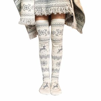 Women Christmas High Over The Knee Socks Thigh High Stockings Knit  Xmas winter warm stocking Student Stripe Long stockings