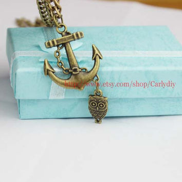 Anchor necklace sailing necklace with bronze owl necklace, nostalgic gift of friendship