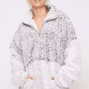 Women's Two-Tone Faux Fur Pullover with Pockets