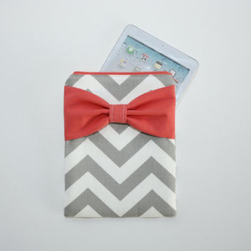 iPad Mini - Kindle - Nook - eReader Case - Gray and White Chevron Coral Bow - Padded - Sized to Fit Any Brand
