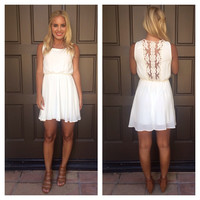 Lace Back Detail Dress - IVORY