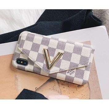 117b9c77421b LV Louis Vuitton 2018 Men's and Women's iPhone 7Plus Wallet Phon