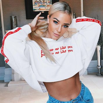 NCLAGEN 2018 Sexy Women Loose Hooded Hoodies Letter Print Patchwork Navel Bare Crop Tops Sweatshirts Oversize Hip Hop Pullovers