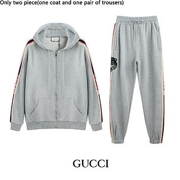GUCCI fashionable hot seller of men's and women's casual striped embroidery zipper hoodie suits Gray