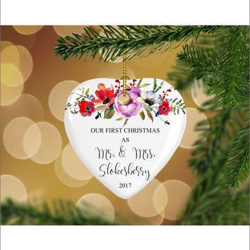 Personalized Floral Our First Christmas as Mr. & Mrs. Christmas Ornament- Wedding Ornament - Christmas Gift Ideas - HO0005