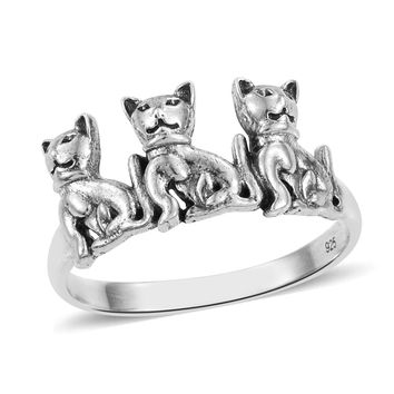 Sterling Silver Cat Ring 3.4 Grams