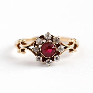 Antique Halo Ring - 10k Rosy Yellow Gold Created Ruby & White Sapphire Cluster - Size 8 1/2 Vintage Edwardian Early 1900s Red Fine Jewelry