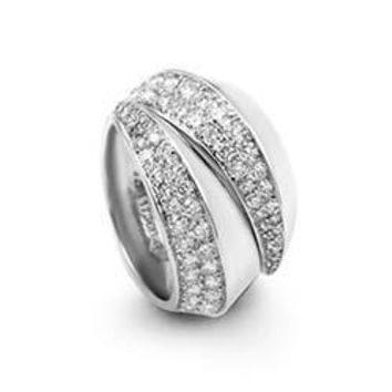 Cartier White Gold Diamond Pave Split Band Ring