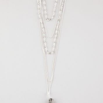 Full Tilt 5 Row Crystal Layered Necklace Silver One Size For Women 27271414001