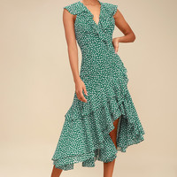 Be About You Green Floral Print Asymmetrical Midi Dress