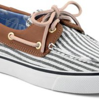 Sperry Top-Sider Bahama Seersucker 2-Eye Boat Shoe NavySeersucker/Cognac, Size 6M  Women's Shoes
