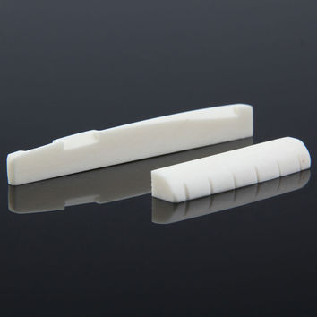 Hot Sale Guitar Accessories Buffalo Bone Guitar Bridge Nut Saddle for 6 String Classical Guitar White Free Shipping