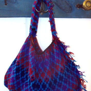 Boho Bag Hobo Bag slouchy shoulder bag gypsy bag handwoven bag ethnic tribal fabric purse red purple blue vintage purse Anthro style
