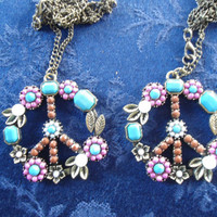 Set of 2 Hippie Peace Sign with flowers Metal Pendant on a chain Necklace/Friendship Necklaces/His or Hers Necklaces/His/Hers Necklaces/