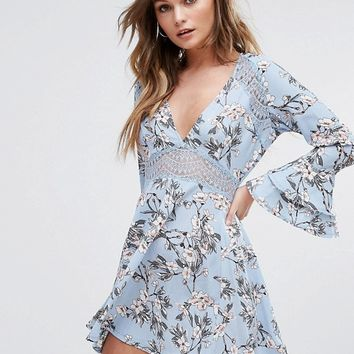 Boohoo Floral Print Lace Insert Skater Dress at asos.com