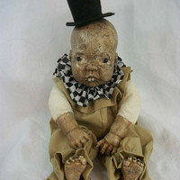 """One of A Kind Altered Art Creepy Doll """"Sheldon"""" Abstract Scary Odd Weird L.Cerrito Salvage Artist Doll"""