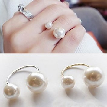 Fashion Women Girls Two Imitation Pearl Opening Ring Wedding Adjustable Finger Ring Jewelry Gifts KQS8