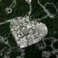 Silver Heart Shaped Puzzle Set of 6 necklaces Leaf Design Best Friend Bridesmaid Jewelry Set 301