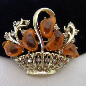 CORO Jewelry Flower Basket Brooch Pin Amber Lucite Glass Rhinestone Gold Plate