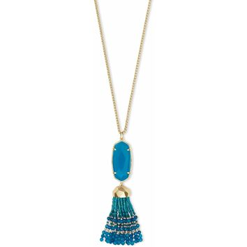 Kendra Scott Eva Gold Long Pendant Necklace In Teal Agate