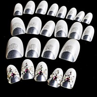 24pcs set White French Oval Nail Tips False Nails Clear White with Glitter Rhinestones Gem Full Cover Fake Nail Art Tips Z435