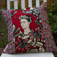 Rose Red Frida Cactus Flower 20 inch Artistic Statement Pillow Cover
