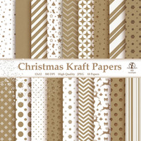 Christmas Kraft Paper Pack Digital Printable Designs Instant Download Scrapbooking Collection - Reindeer Stars Stockings  - Pack of 18