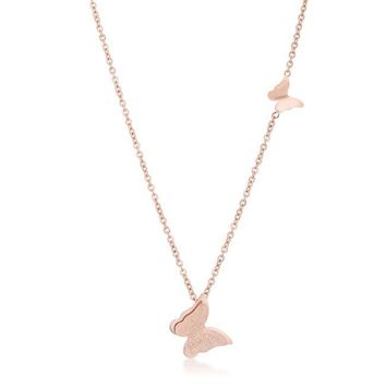 Beatrice Rose Gold Stainless Steel Delicate Butterfly Necklace