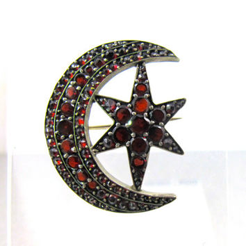 Bohemian Garnet Brooch, Crescent Moon Star Brooch, Antique Garnet Jewelry, 1800s Victorian Love Token