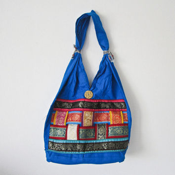 Vintage Indian handcrafted embroidery patch work mirror work, Indian cotton stain dye shoulder jhola, purse bag 033