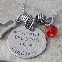 My Heart Belongs to a Soldier Handstamped Necklace by WireNWhimsy