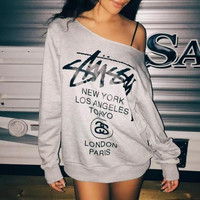 """Stussy"" Sexy Strapless Letter Print Leisure Long sleeves Loose Pullover Tops Sweater"