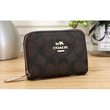 Cox Chi Hot Selling Lady's Zipper Printed Small Wallet Coffee
