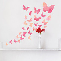 Fabric Watercolour Butterfly Wall Stickers