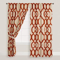 Rust Ethel Flocked Chambray Tab Top Curtain - World Market