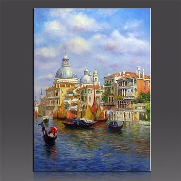 WEEN Water Castale Pictures By Numbers Modern IDY Handpainted Oil Canvas Painting Wall Pictures Coloring By Number Digital Art