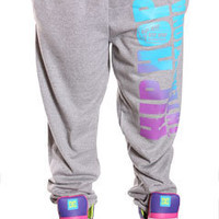 Hip Hop International Grey with Purple Fade Sweatpants at Threader® Streetwear, Hip Hop Clothing, and Urban Clothing